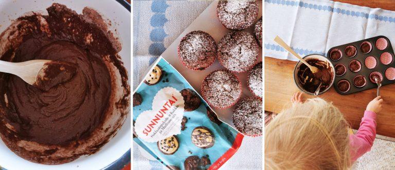 Ihanat suklaa-appelsiinimuffinssit valmistuvat helposti Vappu Pimiän ohjeella.